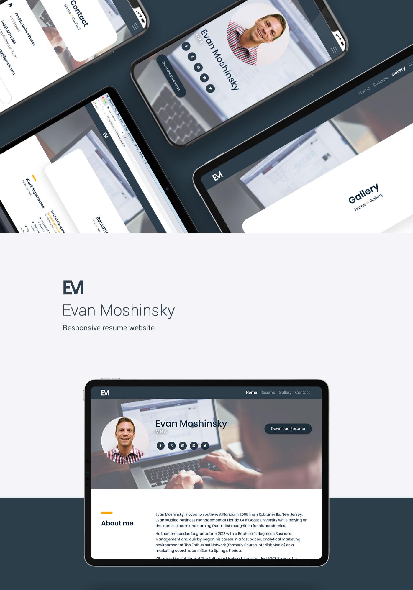 Evan Moshinsky responsive website shown iPhone, iPad, and MacBook Pro
