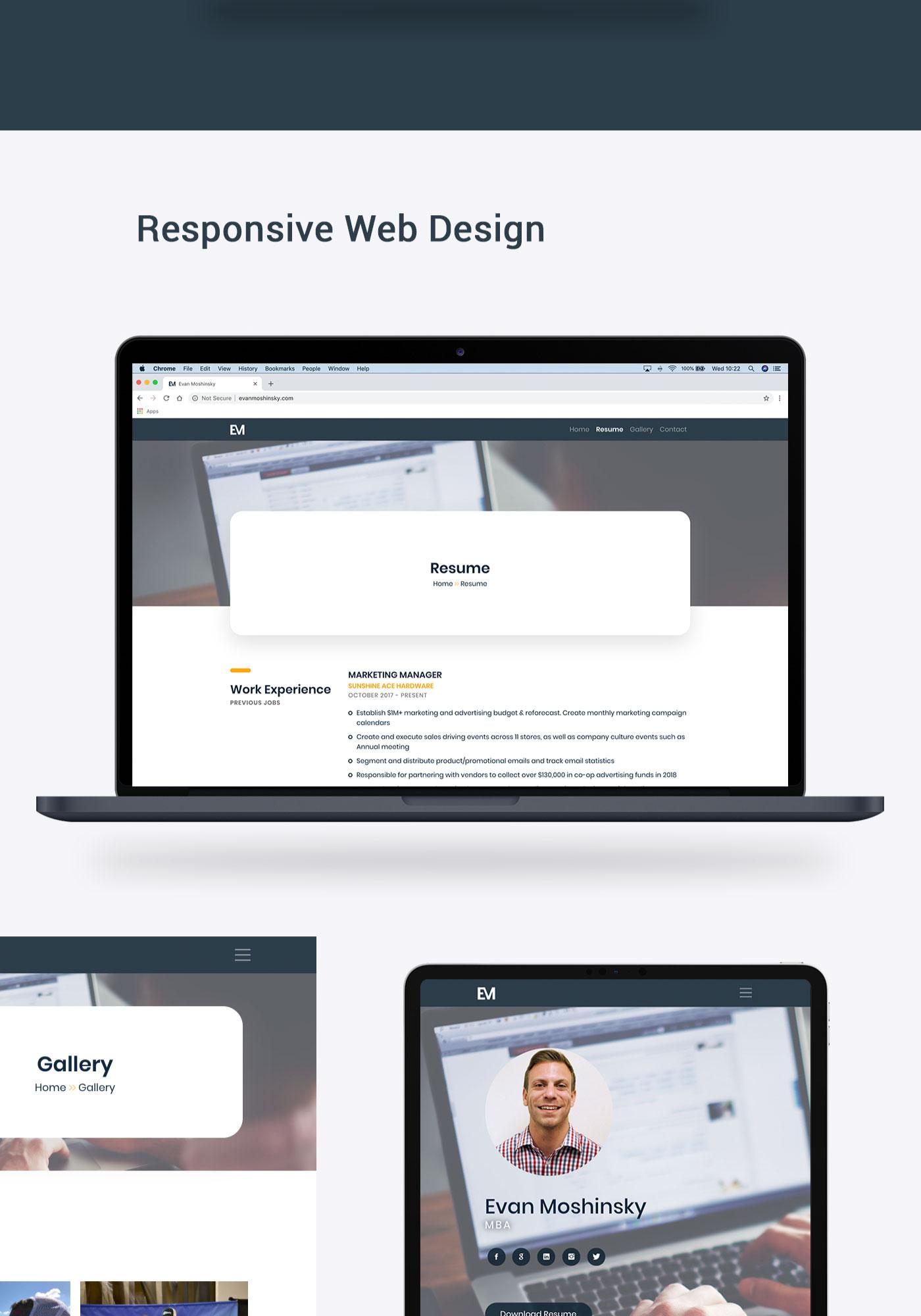 Evan Moshinsky website mockup on MacBook Pro and iPad