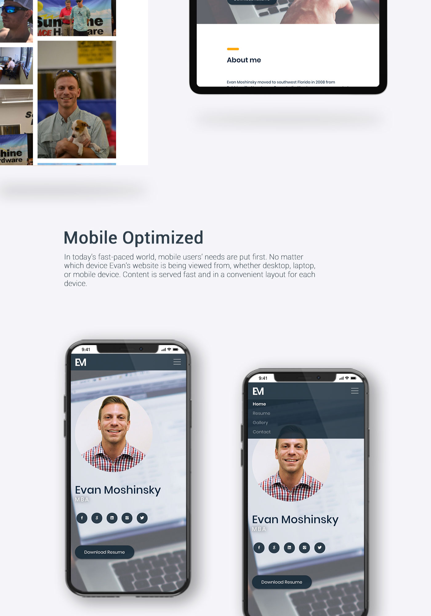 Evan Moshinsky's mobile optimized website shown on iPhone