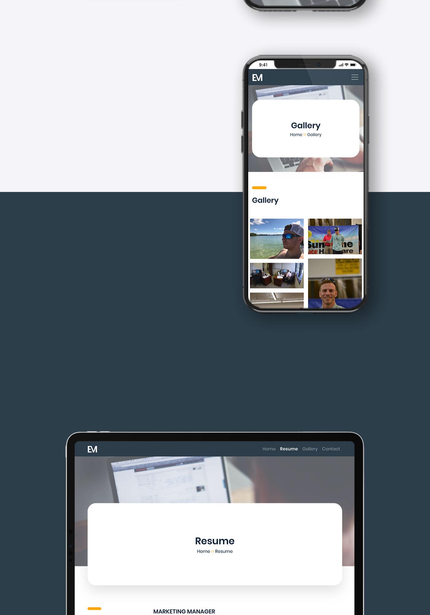 Evan Moshinsky mockup shown on iPhone and iPad