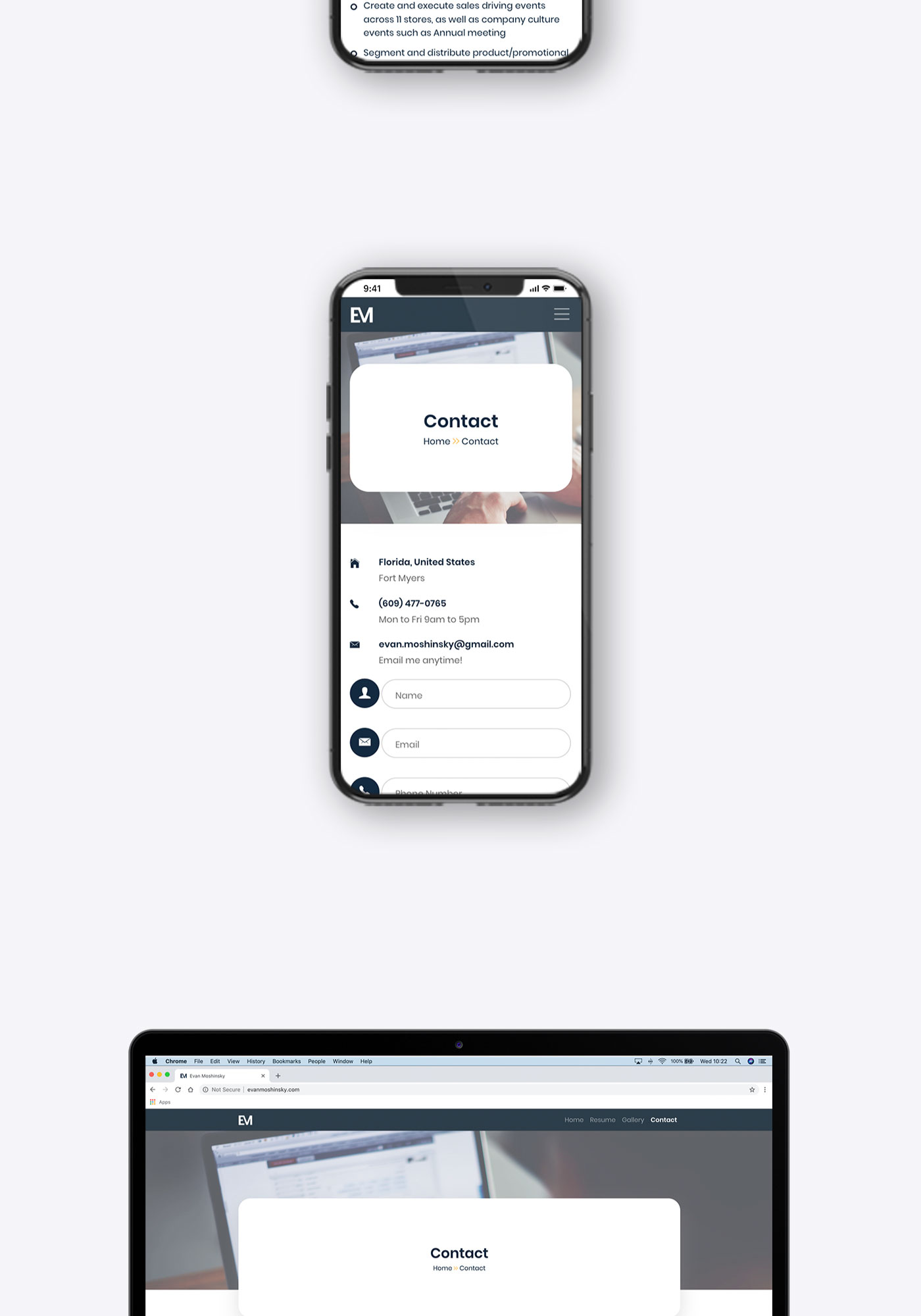 Evan Moshinsky contact form layout showing on iPhone