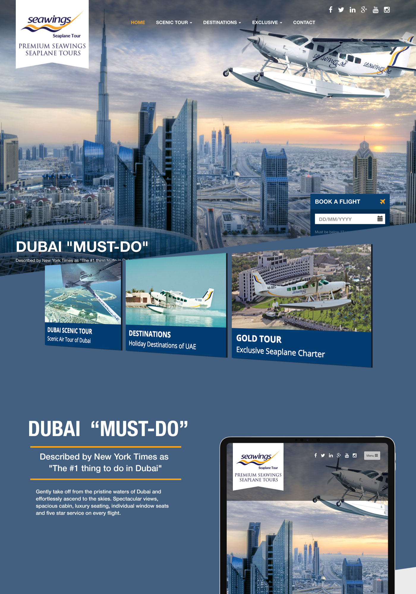 Seawings Seaplane Tours website showing top overview of Dubai tours