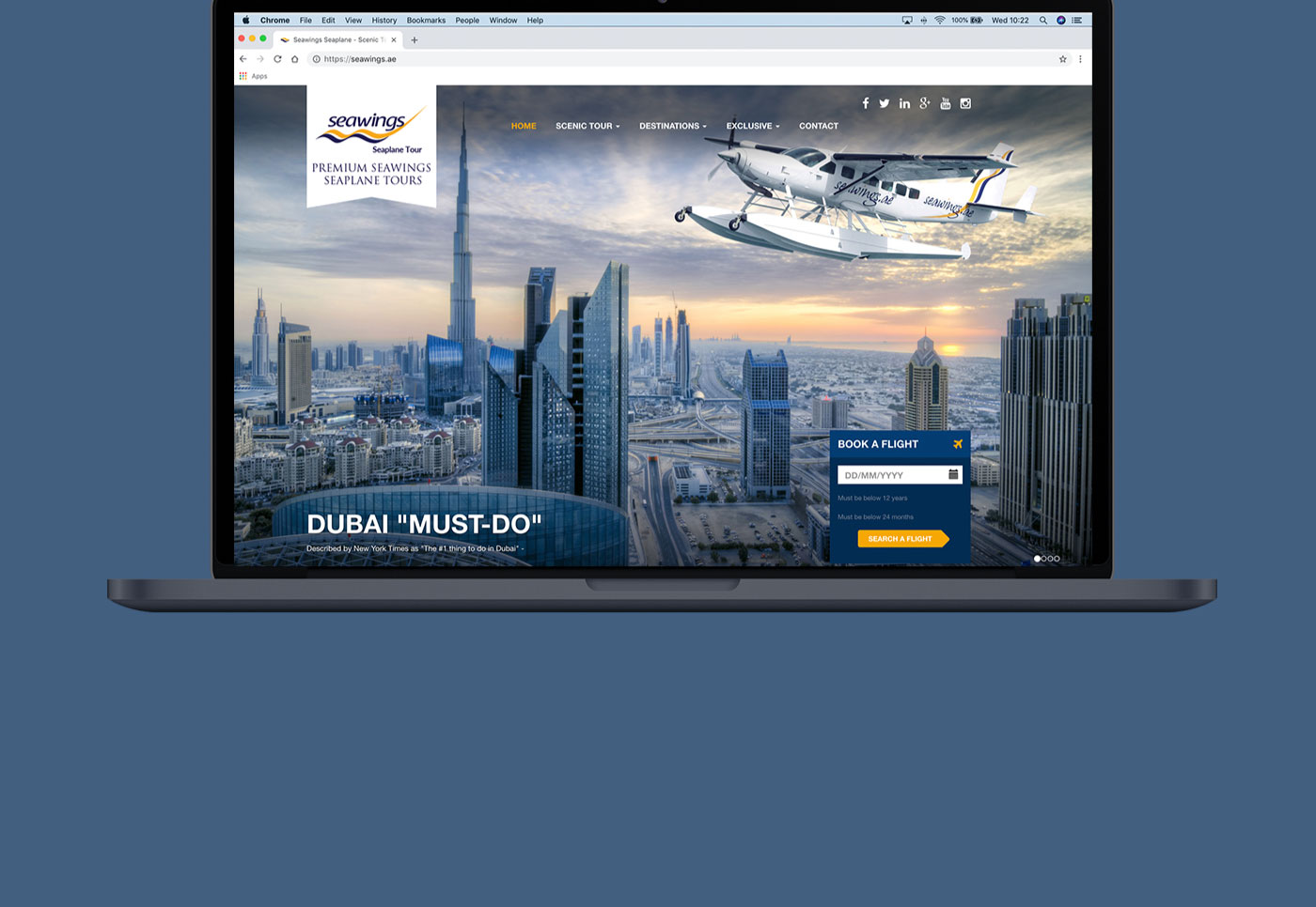 Seawings Seaplane Tours website being showing on a MacBook Pro
