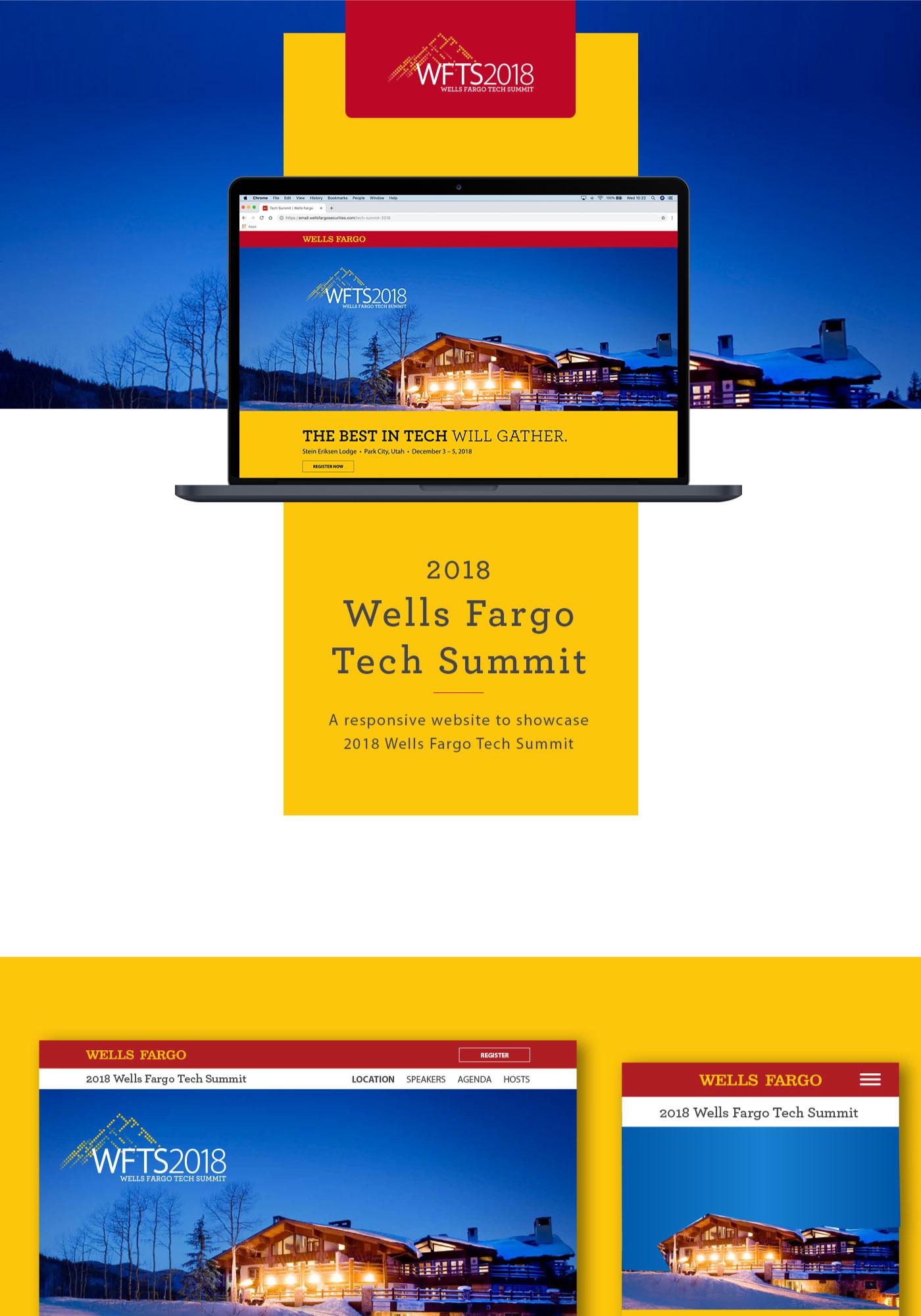 Wells Fargo Tech Summit website shown on a laptop