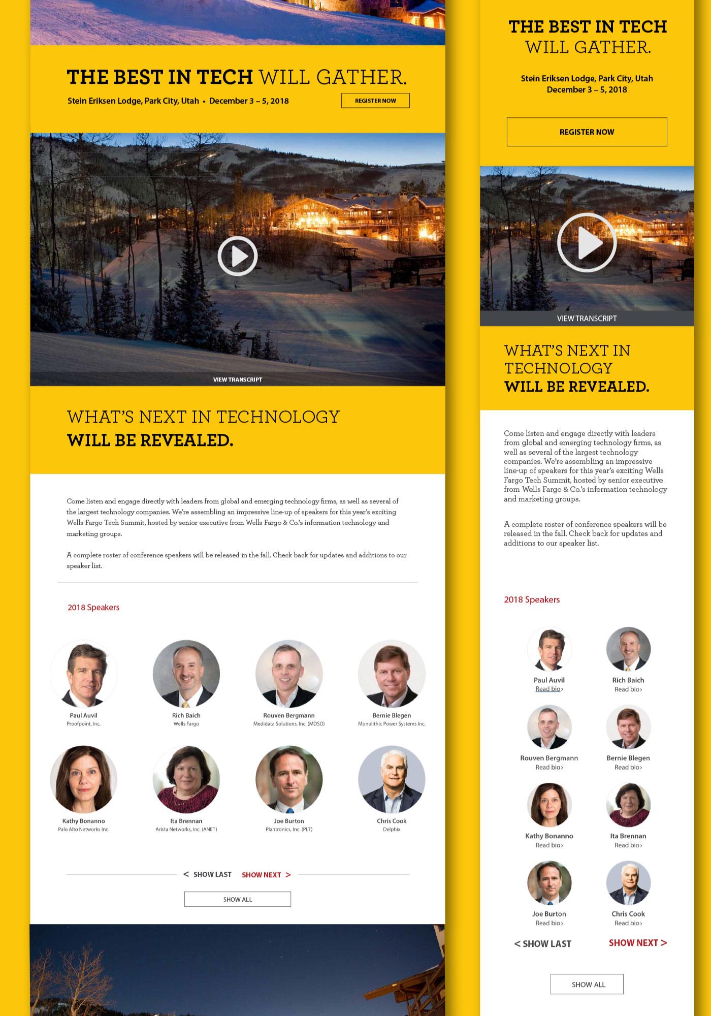 Wells Fargo Tech Summit website mockup shown in desktop and mobile view