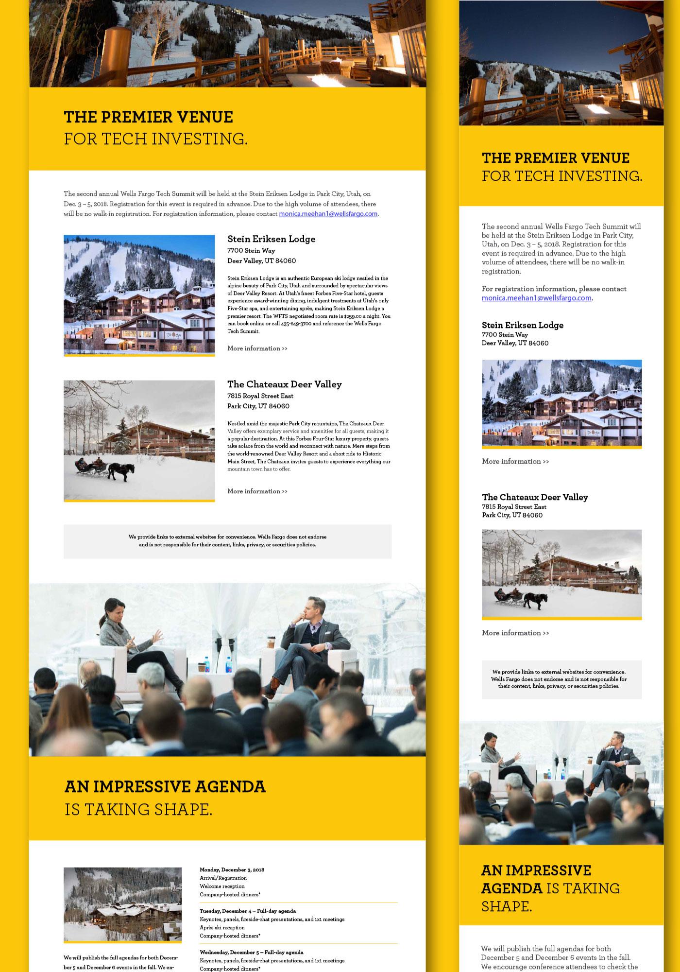 Wells Fargo Tech Summit website shown in desktop and mobile view