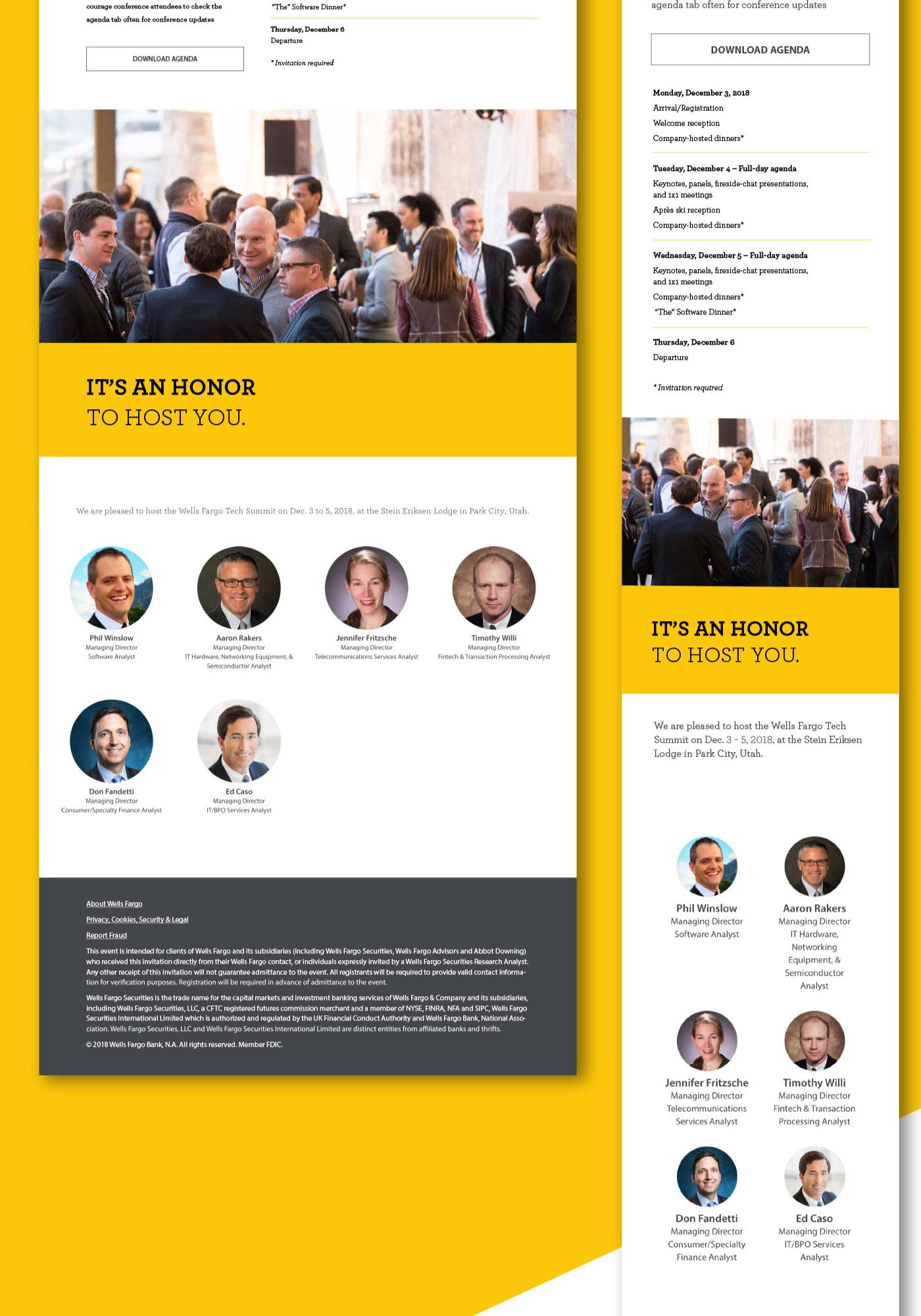 Wells Fargo Tech Summit design shown in desktop and mobile view