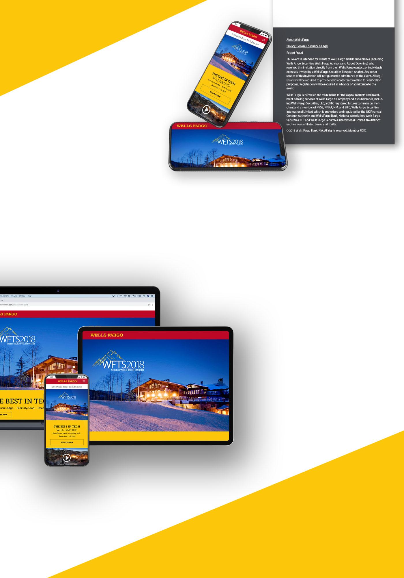 Wells Fargo Tech Summit mockup on MacBook Pro, iPad, and iPhone