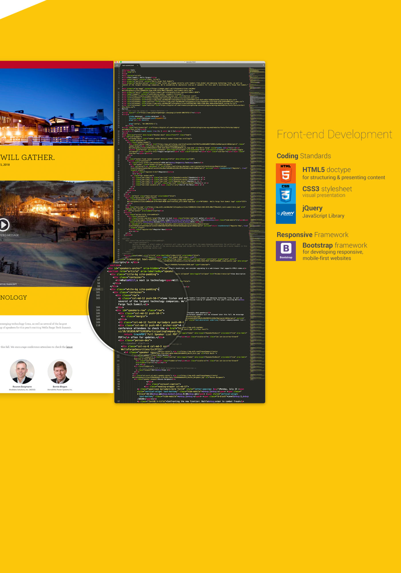 Wells Fargo Tech Summit website backend code displaying hierarchy