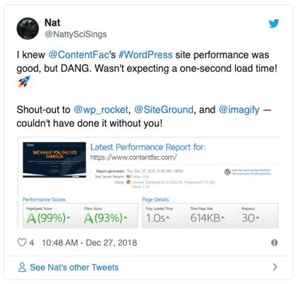 SiteGround and WProcket WordPress speed performance