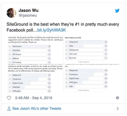 SiteGround #1 on Facebook Polls